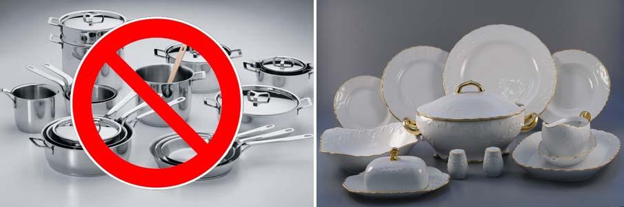 Не использовать такую посуду в микроволновке